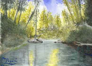 Fishing Wilson River Tillamook, Oregon native watercolor sketch