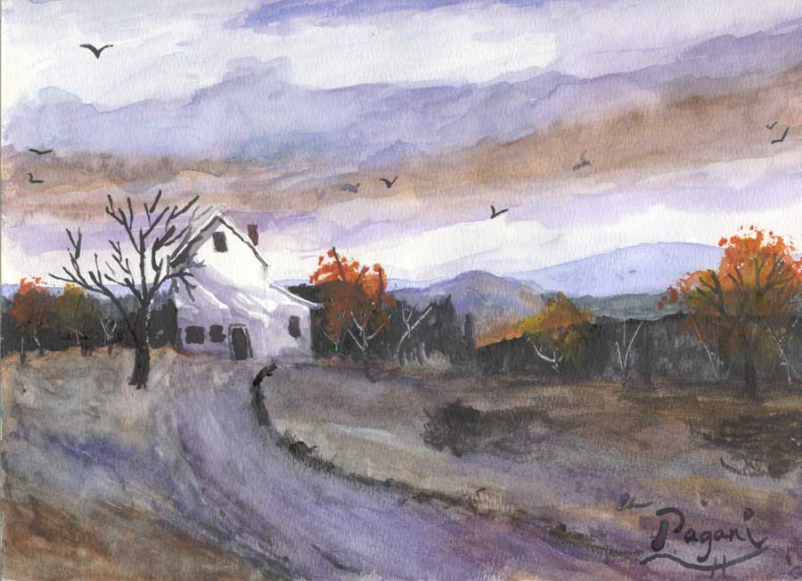 Hebo Farm House, Oregon native watercolor sketch