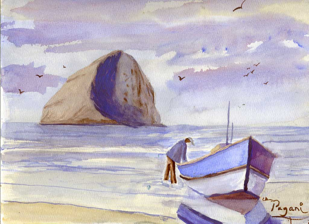 A dory landed on the beach at Cape Kiwanda with Haystack Rock in the background, Oregon native watercolor sketch