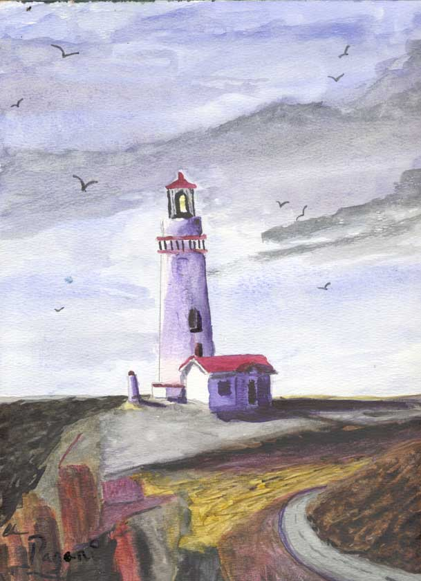Yaquina Lighthouse Newport, Oregon native watercolor sketch